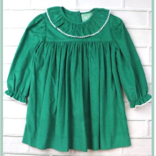 Green Corduroy Lace Neck Dress
