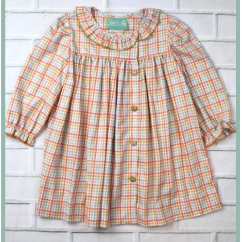 Pastel Plaid Side Button Dress