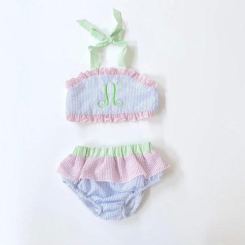Seersucker Color Block Two-Piece Swimsuit