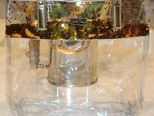Clear Tote with Gold Confetti