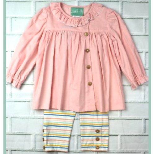 Pastel Stripe Side Button Pant Set