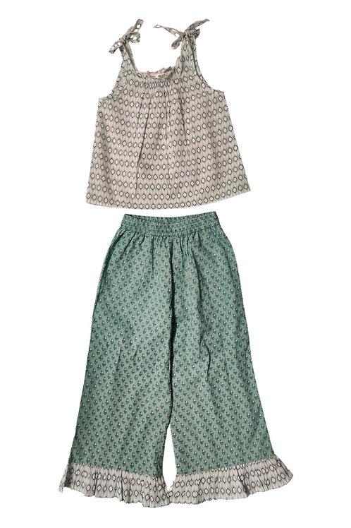 Green/White Printed Girls Pant Set