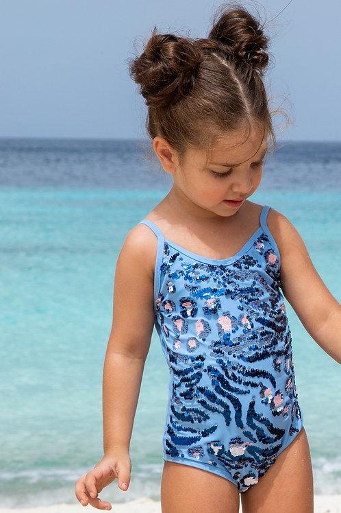 Blue Leopard Magic Flip Sequin 1PC Swimsuit