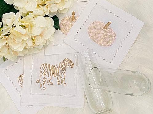 Embroidered Linen Cocktail Napkins (set of 4)