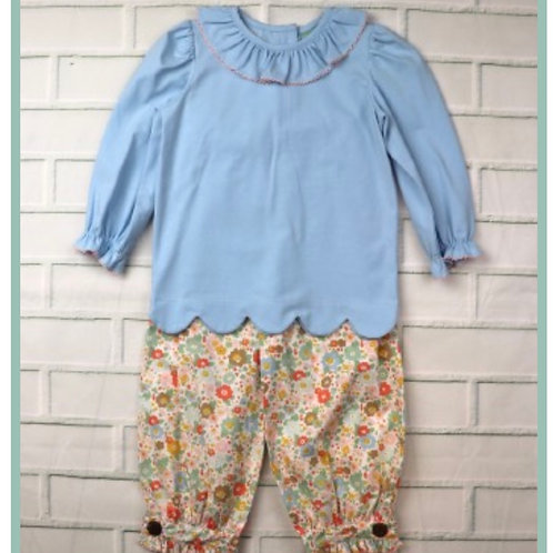 Pastel and Floral Scallop Top Pant Set