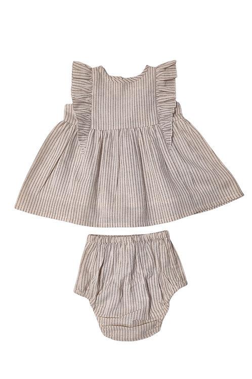 White/Navy pinstripe Dress and Bloomer Set