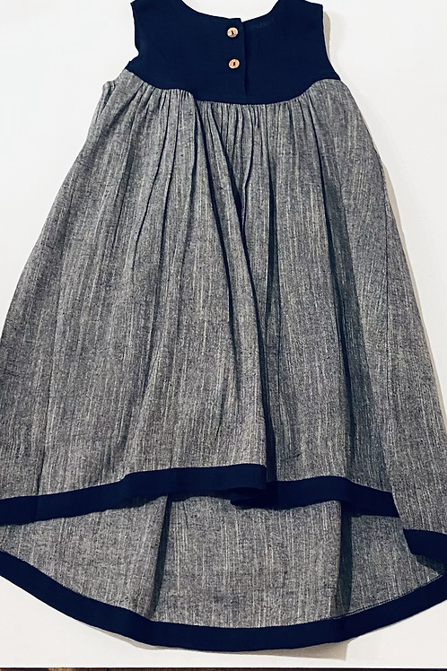Navy and Chambray High Low Girls Dress