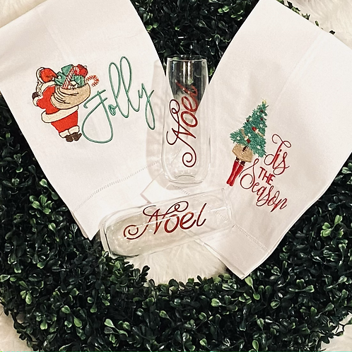 Holiday Embroidered Hand Towels