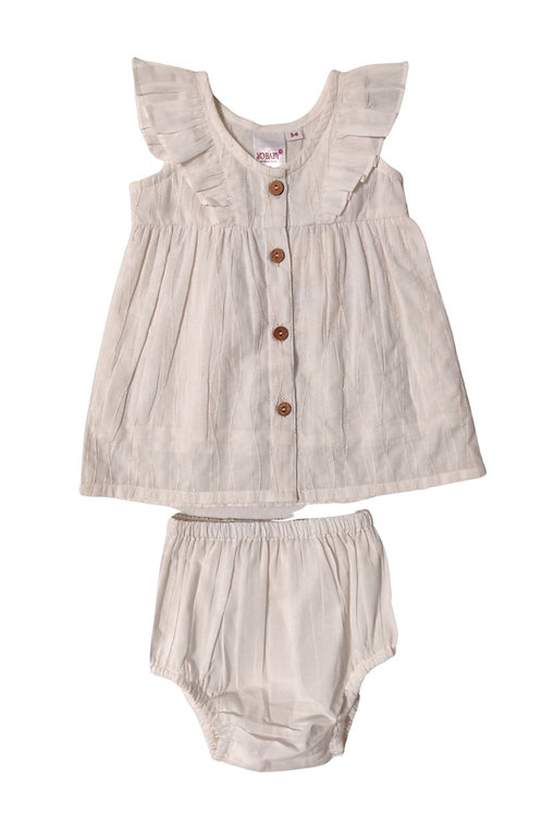 White Button Front Dress and Bloomer Set