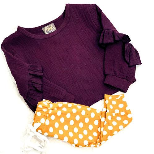 Purple and Mustard Dot Pant Set