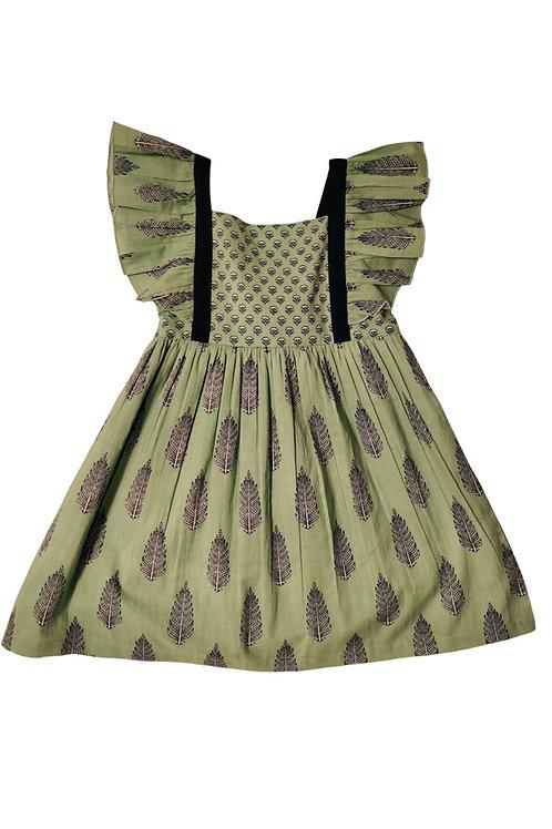 Green/Navy Printed Dress