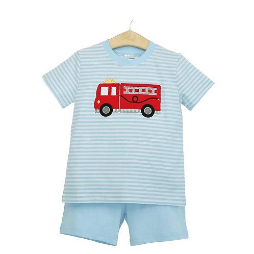 Firetruck Boy Short Set