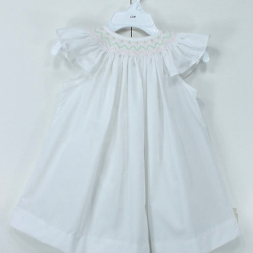 Anna White Smocked Dress