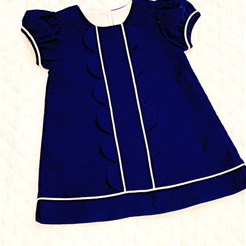 Navy Corduroy Scallop Dress