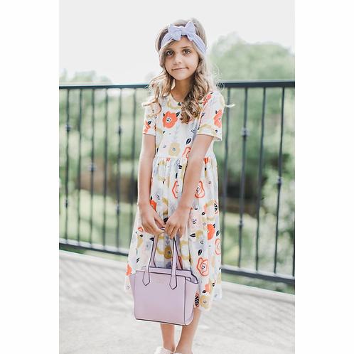Sky Blue Retro Floral Short Sleeve Twirl Dress