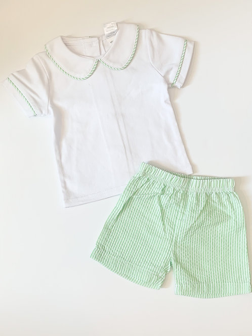 2 Piece Boys Set with Collar and Matching Shorts