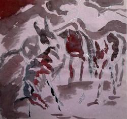 """Horses in the Fog"". 1983."