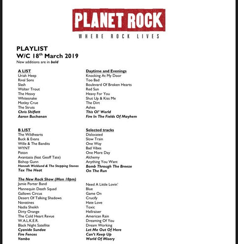 "Wyatt Wendels of Planet Rock UK features ""Can't Keep Up"" in his The New Rock Show"
