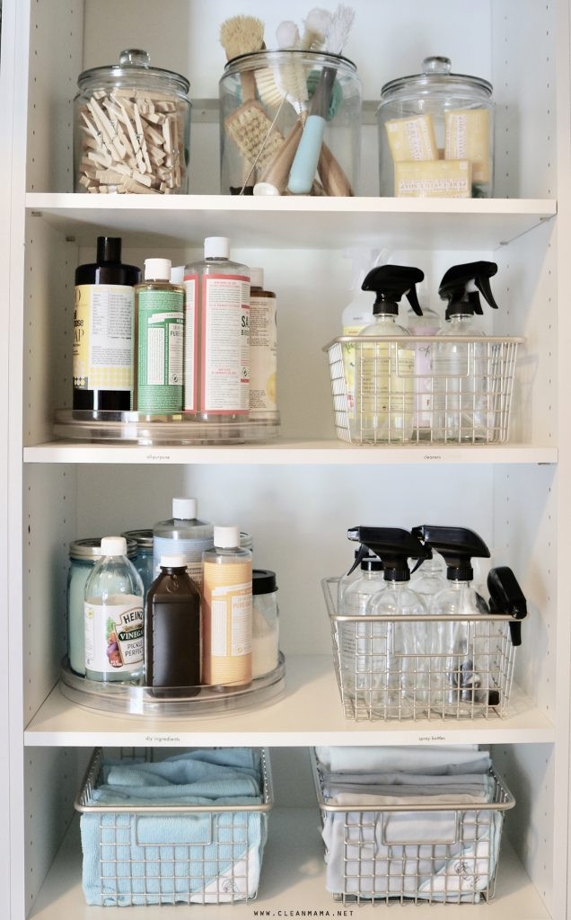 Homefulness Organised cleaning cupboard