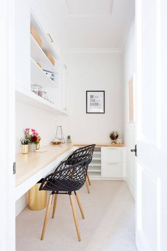 Organised Home Office with black chairs - Homefulness