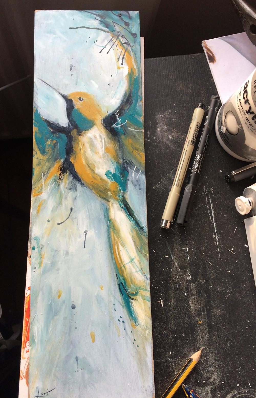 Acrylic & pen on board 2019