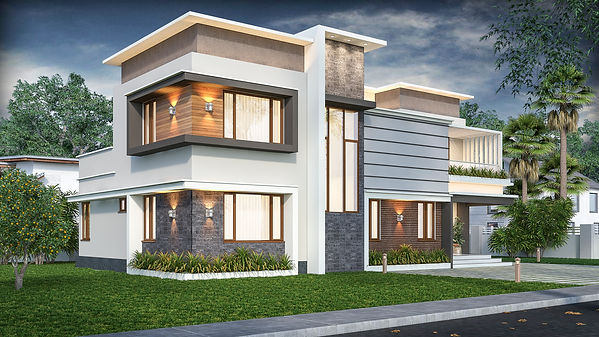 Contemporary Flat roofed Design in Mithrapuram. top architect in pathanamthitta - adoor