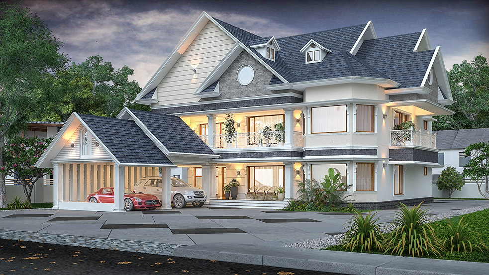 European Style Residence Design in Pathanamthitta. Best Builders in Pathanamthitta, Kerala.