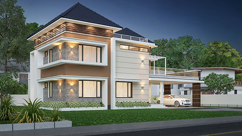Contemporary sloped Roof Design in Ochira. Top architect in Adoor.