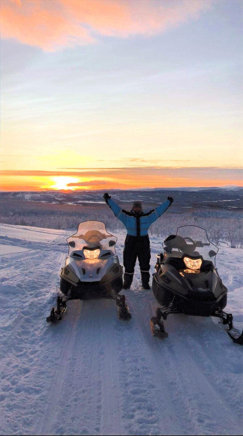 Snowmobile safari on the Arctic Tundra