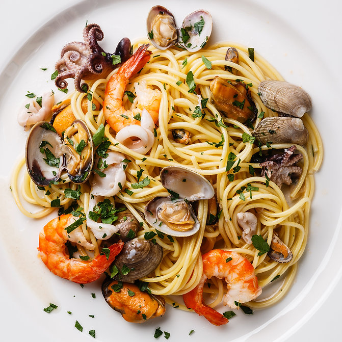 Seafood pasta Spaghetti with Clams, Praw