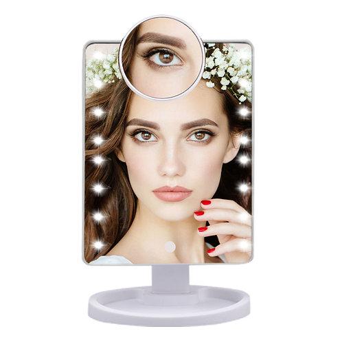 22 LED Light Touch Screen 1X 10X Magnifier Makeup Mirror Desktop Countertop