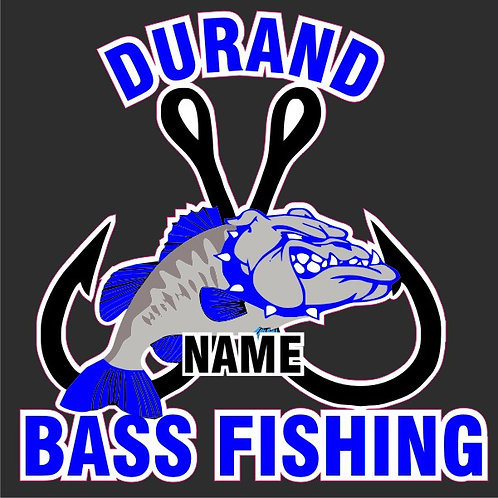 Durand Bass Fishing personalized window sticker