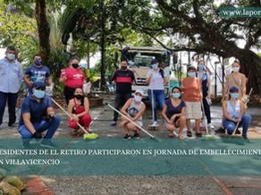 RESIDENTES DE EL RETIRO PARTICIPARON EN JORNADA DE EMBELLECIMIENTO EN VILLAVICENCIO