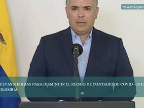 NUEVAS MEDIDAS PARA DISMINUIR EL RIESGO DE CONTAGIO DE COVID - 19 EN COLOMBIA