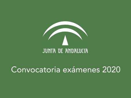 Convocatoria de exámenes 2020 Andalucía