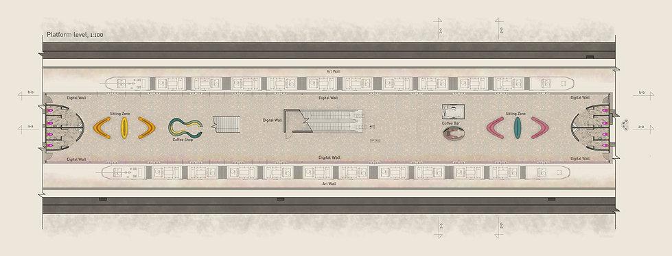 עיצוב תחנת מטרו בברזיל - תכנית קומת רציפים