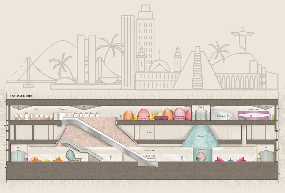 עיצוב תחנת מטרו בברזיל - חתך א-א
