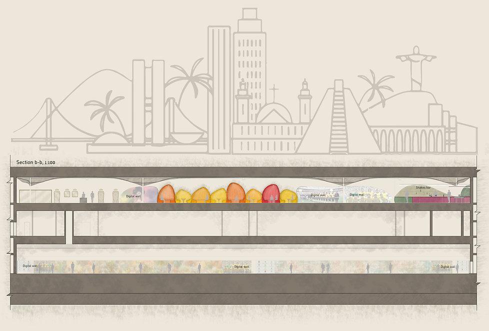 עיצוב תחנת מטרו בברזיל - חתך ב-ב