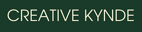 """A rectangular image with a dark green background and the words """"Creative Kynde"""" in cream colour"""