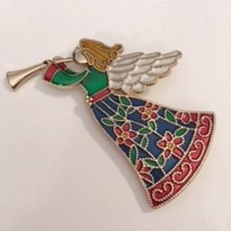 Ladies Gold Christmas Angel Pin