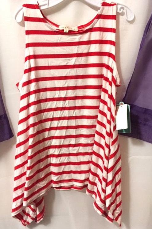 Girls Size Medium 10 - 12 Red White Sleeveless Top