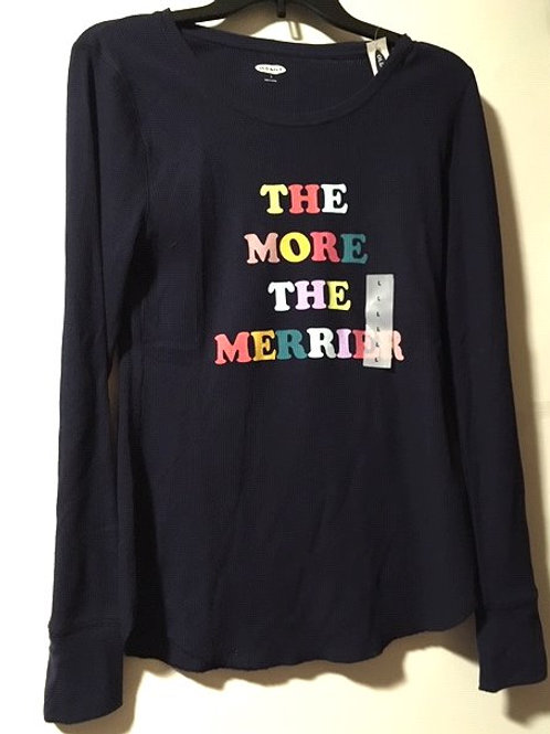 Juniors Navy Graphic Letters Old Navy Long Sleeve Thermal