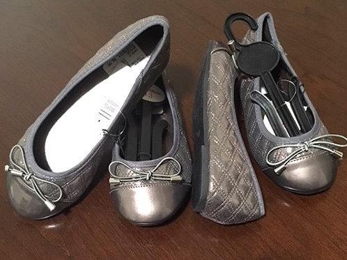 Girls Pewter Ballerina Slip On Rugged Bear Shoes