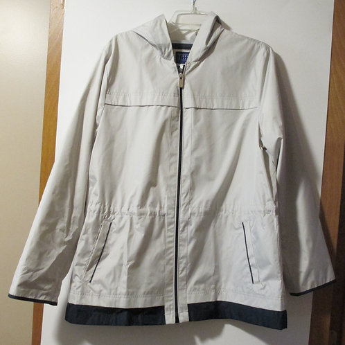 Ladies Size Large Used Khaki Hooded Rain Jacket
