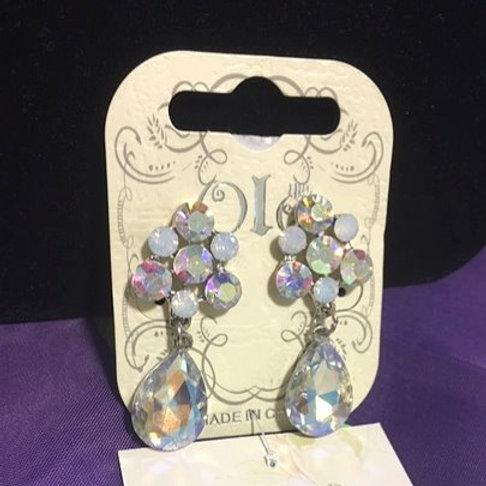 Ladies Iridescent Rhinestone Drop Pierced Earrings