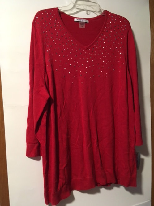 Womens Red Sequined Sweater Top