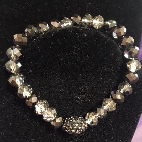 Ladies Stretch Gray Black Bead Bracelet