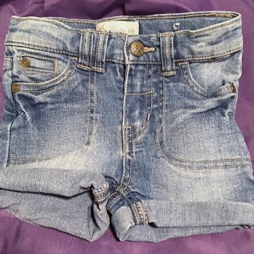 Toddler Girls Size 3T Used Denim Cuffed Shorts