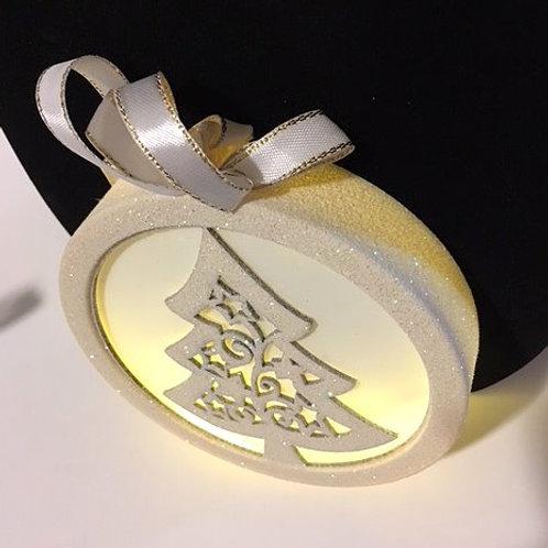Lighted Ivory Christmas Tree Ornament