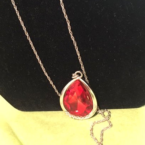 Ladies Long Silver Red Necklace & Pierced Earring Set